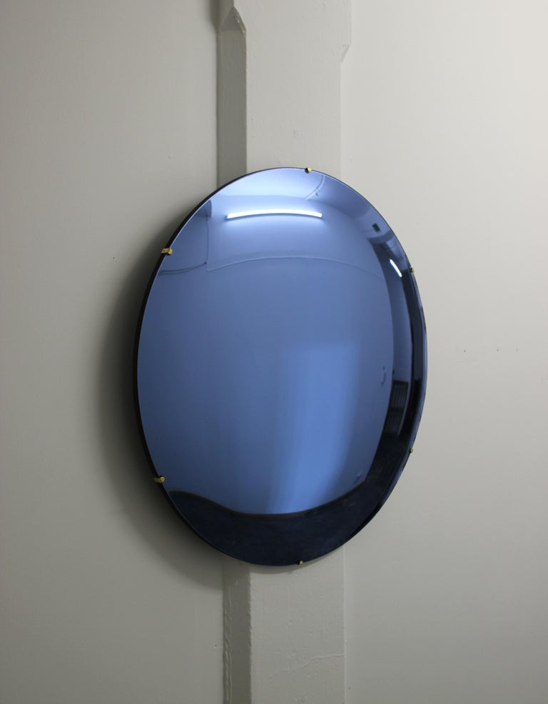 Indian Orbis Convex Blue Tinted Round Frameless Mirror with Brass Clips, Large For Sale