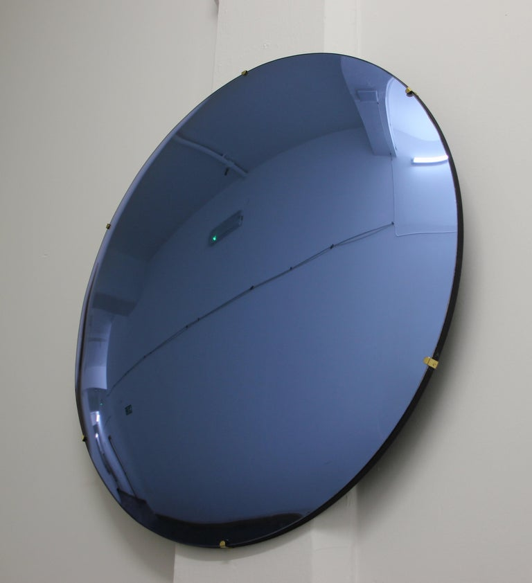 Orbis Convex Blue Tinted Round Frameless Mirror with Brass Clips, Large In New Condition For Sale In London, GB