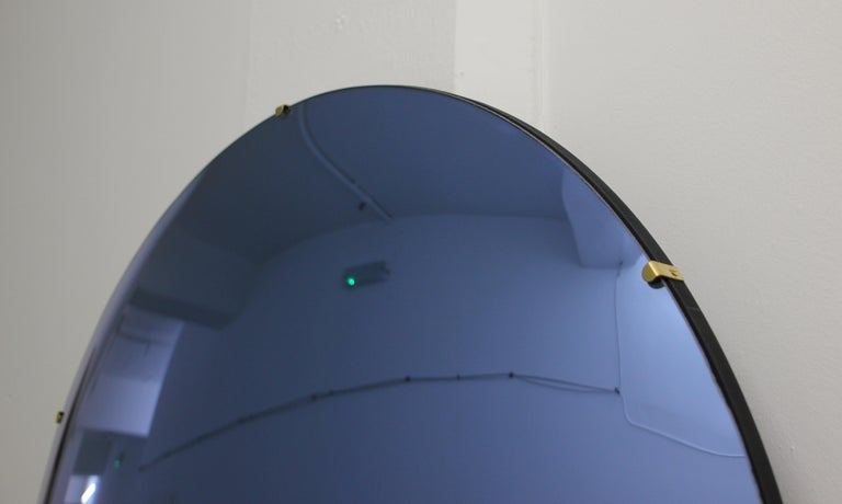 Contemporary Orbis Convex Blue Tinted Round Frameless Mirror with Brass Clips, Large For Sale