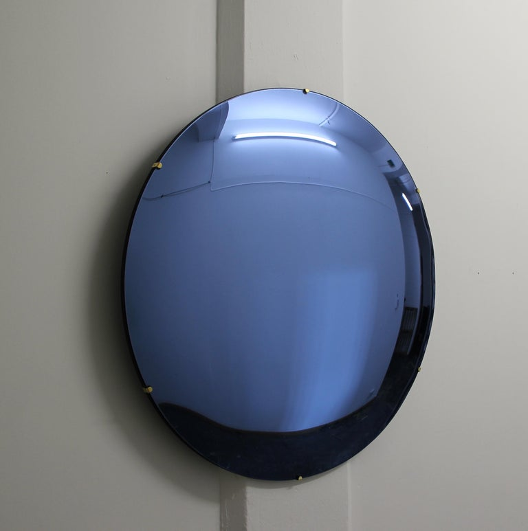 Orbis Convex Blue Tinted Round Frameless Mirror with Brass Clips, Large For Sale 1