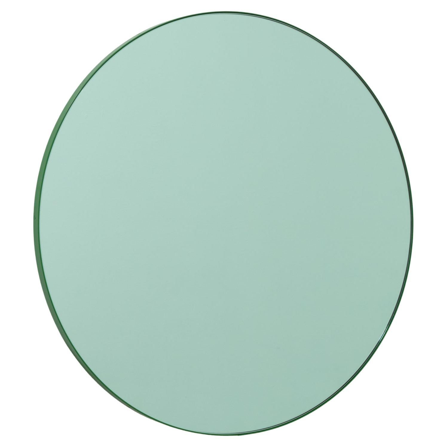 Orbis™ Green Contemporary Handcrafted Round Mirror with Green Frame, Regular