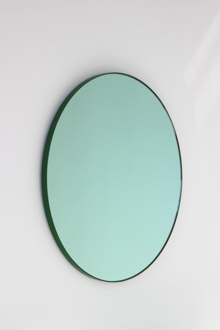 Orbis Green Tinted Handcrafted Round Mirror with Green Frame, Regular In New Condition For Sale In London, GB