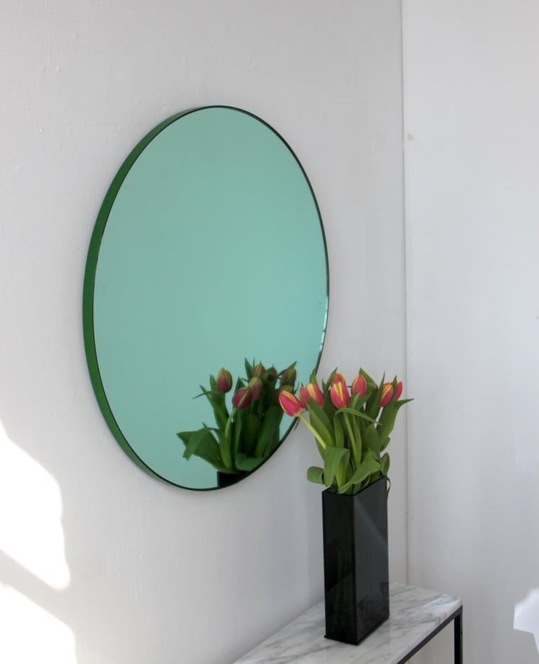 Contemporary Orbis Green Tinted Handcrafted Round Mirror with Green Frame, Regular For Sale