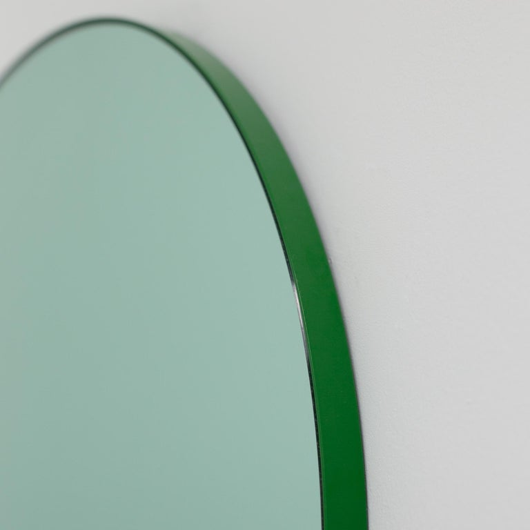 Orbis™ Green Tinted Modern Round Mirror with Green Frame - Medium For Sale 4
