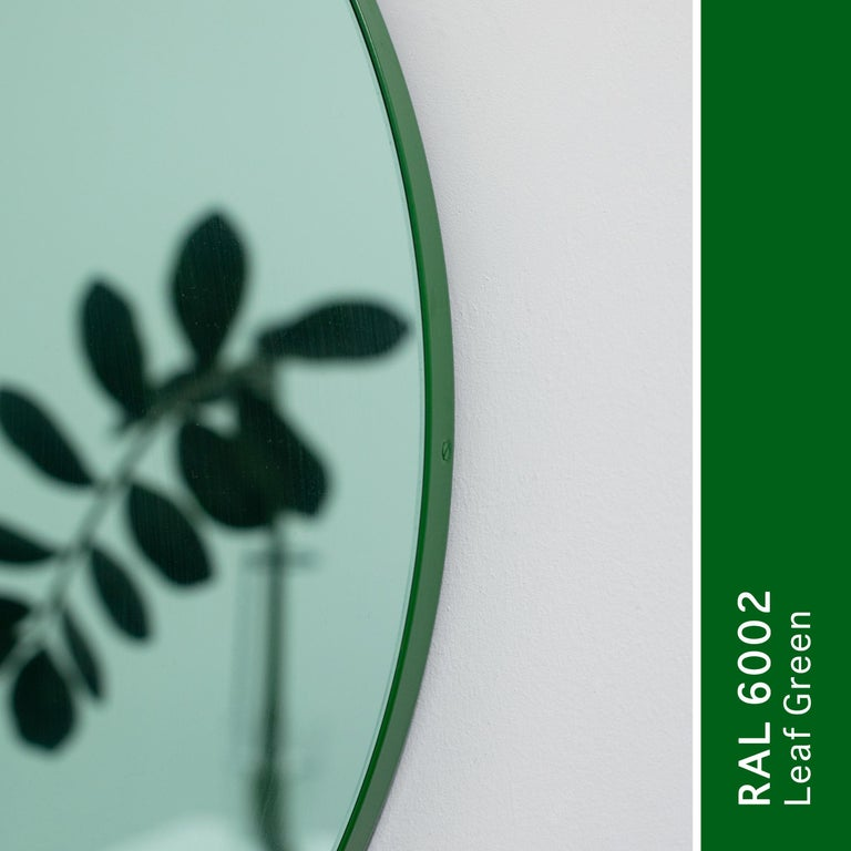 Orbis™ Green Tinted Modern Round Mirror with Green Frame - Medium For Sale 3