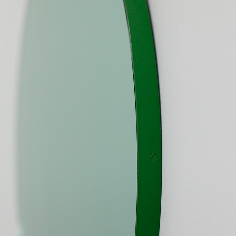 British Orbis Green Tinted Modern Round Mirror with Green Frame, Small For Sale