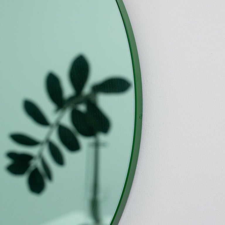 Contemporary Orbis Green Tinted Modern Round Mirror with Green Frame, Small For Sale