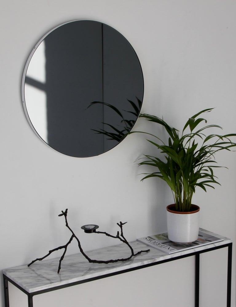 Organic Modern Modern Art Deco Black Tinted Orbis™ Round  Oversized Mirror with White Frame For Sale