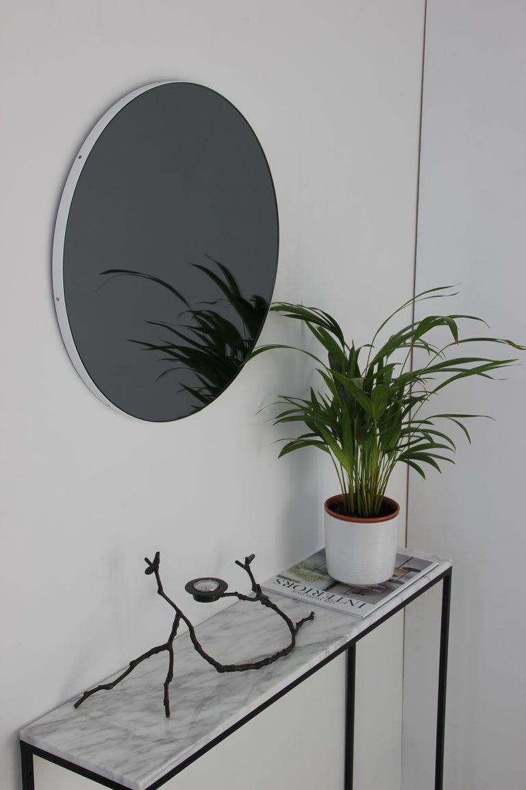British Modern Art Deco Black Tinted Orbis™ Round  Oversized Mirror with White Frame For Sale