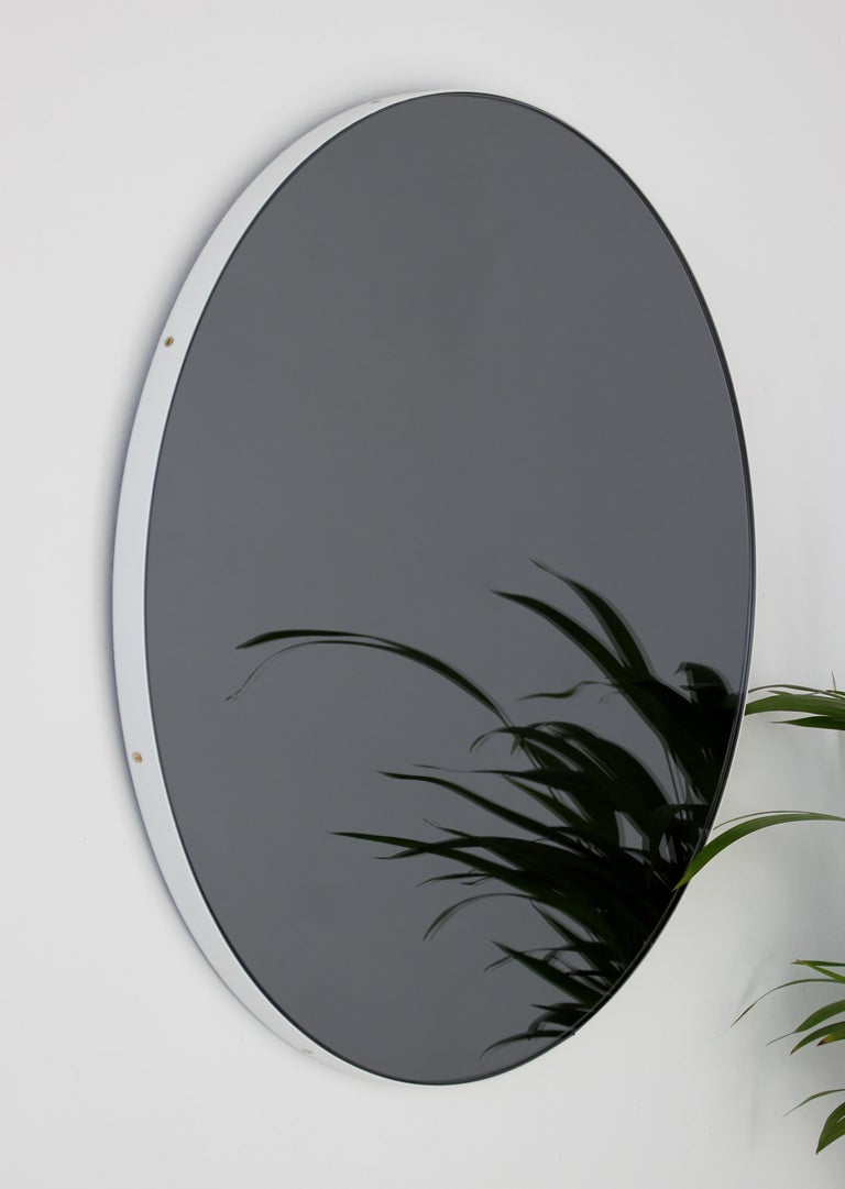 Powder-Coated Modern Art Deco Black Tinted Orbis™ Round  Oversized Mirror with White Frame For Sale
