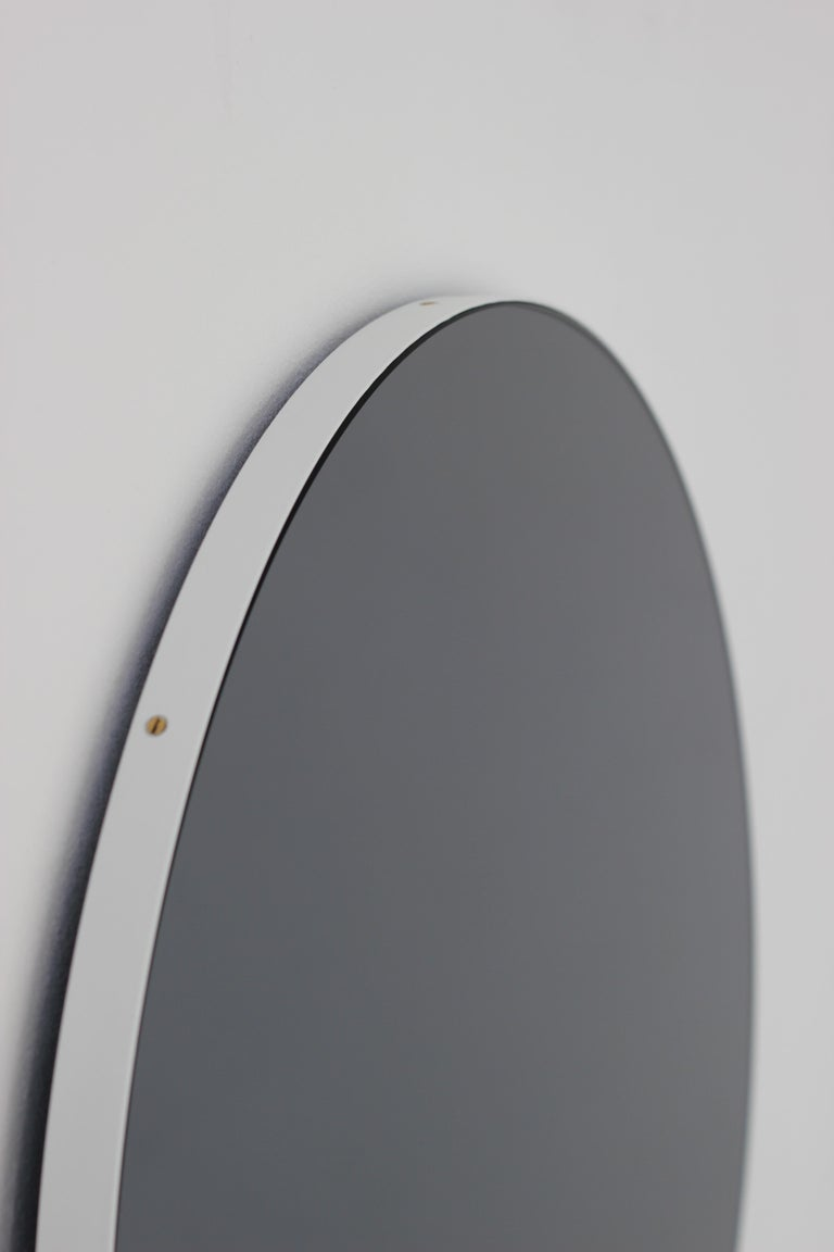 Aluminum Modern Art Deco Black Tinted Orbis™ Round  Oversized Mirror with White Frame For Sale