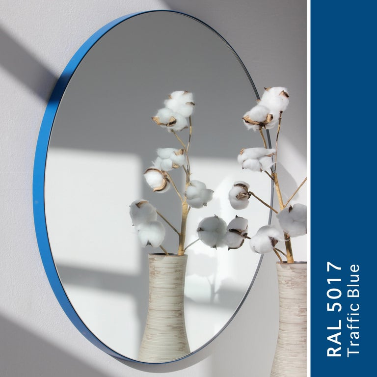 Orbis™ Round Modern Contemporary Mirror with Blue Frame - small For Sale 3
