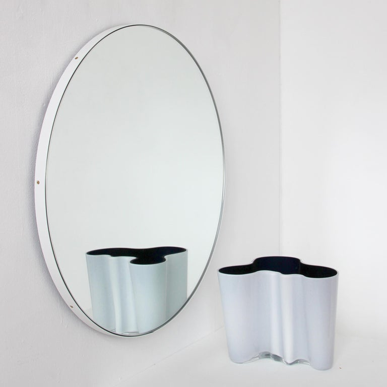 British Orbis Round Silver Tinted Mirror with White Frame, Extra Large For Sale