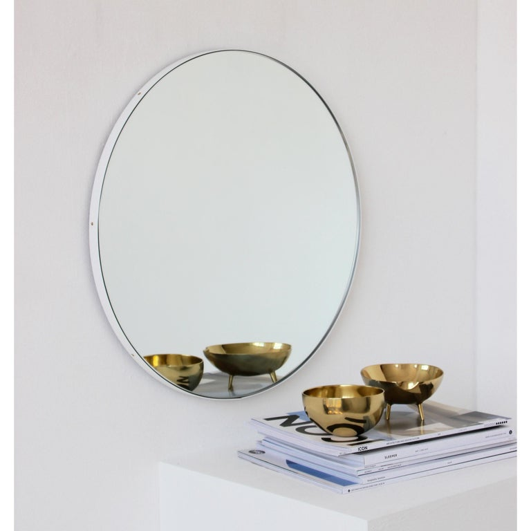 Powder-Coated Orbis Round Silver Tinted Mirror with White Frame, Extra Large For Sale