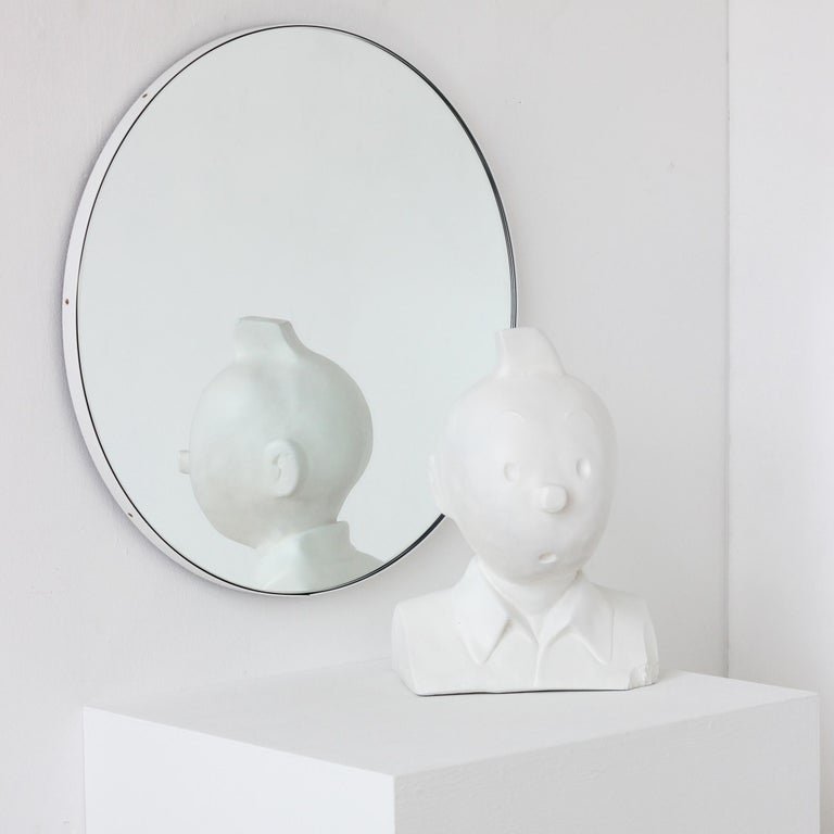 Orbis Round Silver Tinted Mirror with White Frame, Extra Large For Sale 1