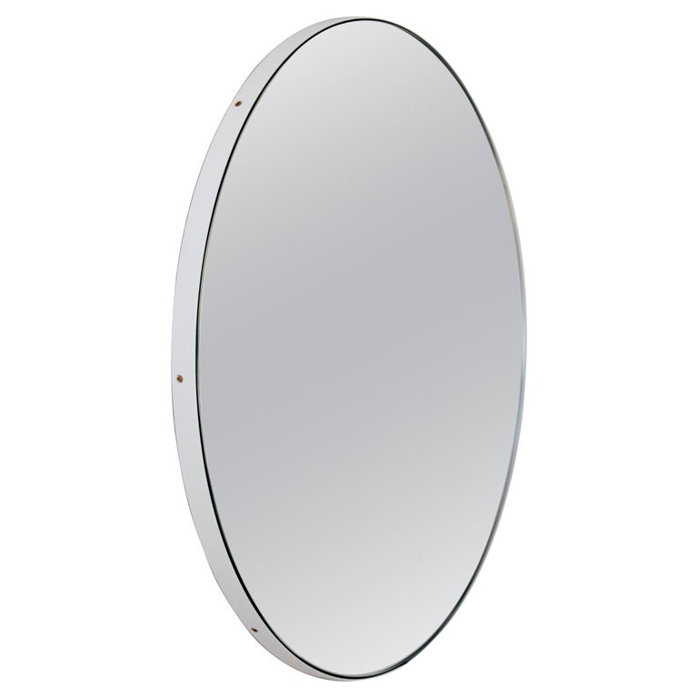 Orbis Round Silver Tinted Mirror with White Frame, Extra Large For Sale