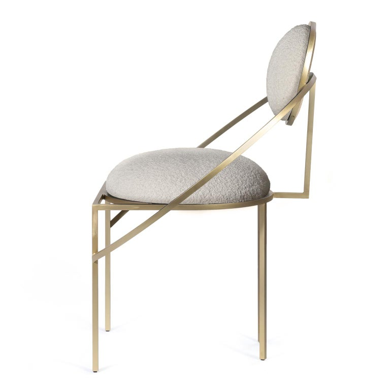 Modern Orbit Chair, Brushed Brass and Cream Boucle Wool Fabric, by Lara Bohinc For Sale