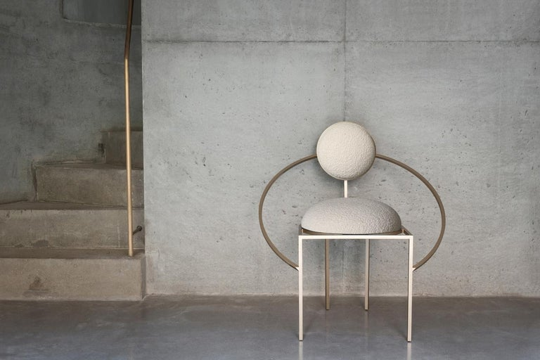 Orbit Chair, Brushed Brass and Cream Boucle Wool Fabric, by Lara Bohinc In New Condition For Sale In London, GB