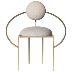 Orbit Chair, Brushed Brass and Cream Boucle Wool Fabric, by Lara Bohinc