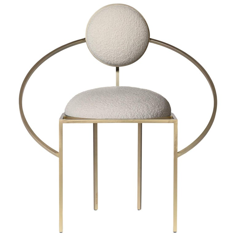 Orbit Chair, Brushed Brass and Cream Boucle Wool Fabric, by Lara Bohinc For Sale
