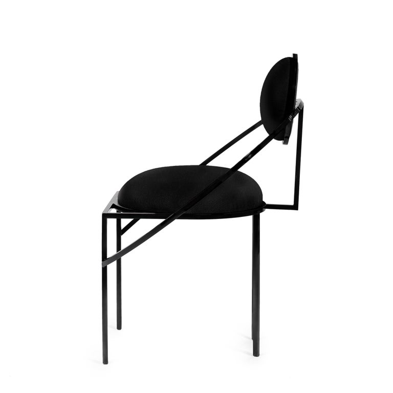 Modern Orbit Chair in Black Fabric and Black Steel, by Lara Bohinc For Sale