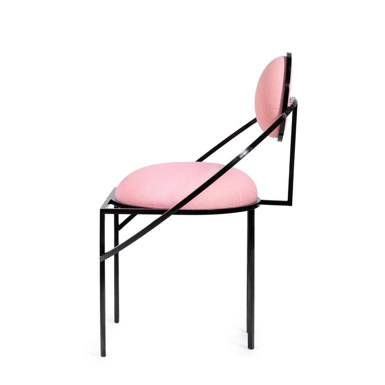 Modern Orbit Chair in Pink Wool Fabric and Black Steel, by Lara Bohinc For Sale