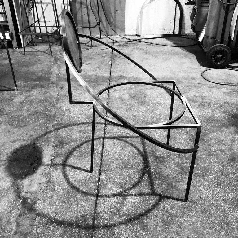 Metal Orbit Chair in Pink Wool Fabric and Black Steel, by Lara Bohinc For Sale