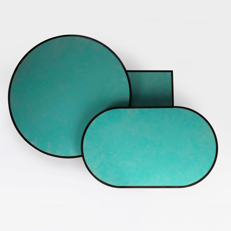 Modern Orbit Coffee Table, Steel Frame and Verdigris Copper Top, by Lara Bohinc For Sale
