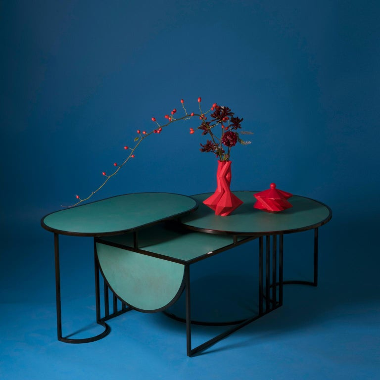 Italian Orbit Coffee Table, Steel Frame and Verdigris Copper Top, by Lara Bohinc For Sale