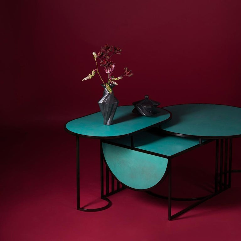 Orbit Coffee Table, Steel Frame and Verdigris Copper Top, by Lara Bohinc In New Condition For Sale In London, GB