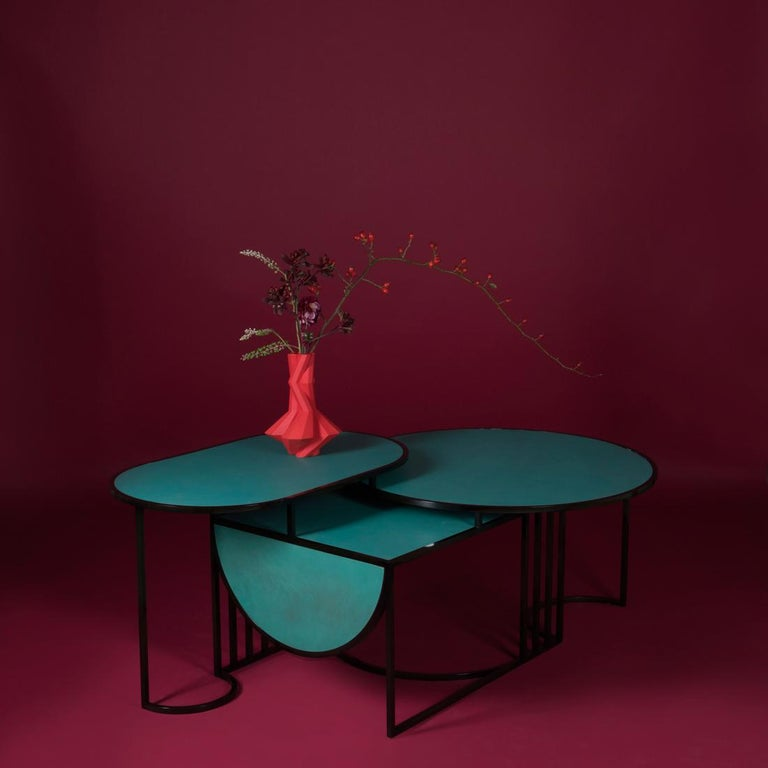 Contemporary Orbit Coffee Table, Steel Frame and Verdigris Copper Top, by Lara Bohinc For Sale