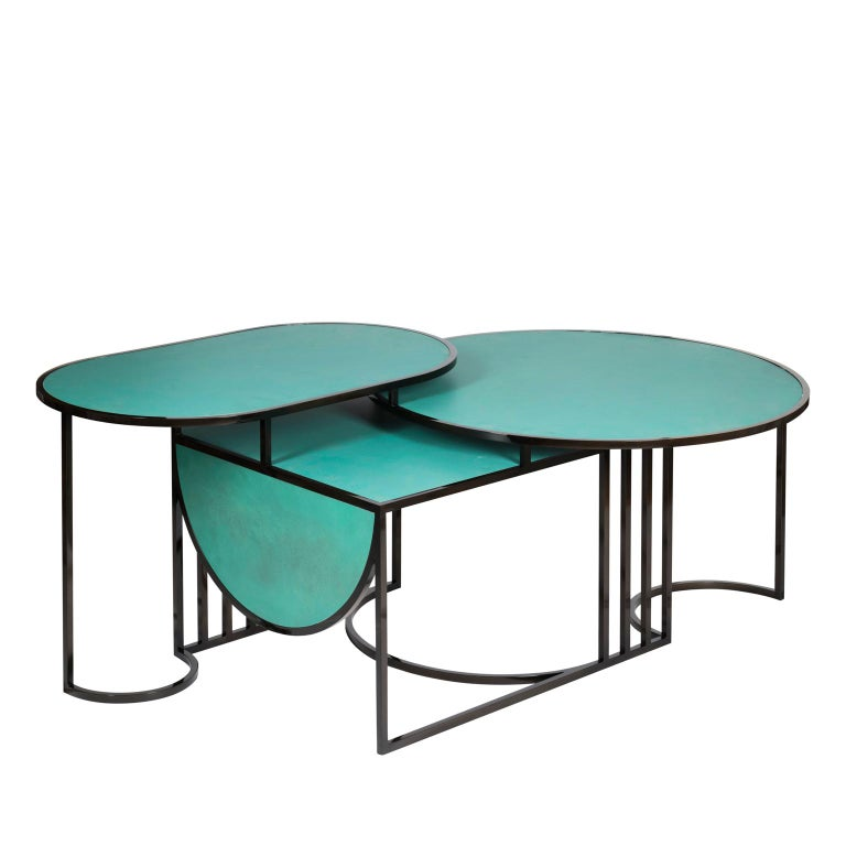 Orbit Coffee Table, Steel Frame and Verdigris Copper Top, by Lara Bohinc For Sale