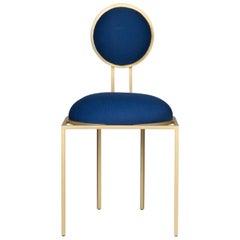 Orbit Dining Chair in Blue Wool Fabric, Brushed Brass, by Lara Bohinc