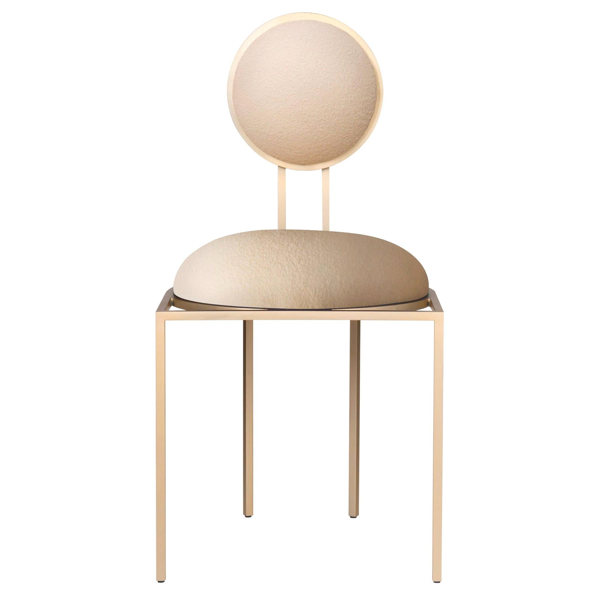 Orbit Dining Chair in Cream Wool Fabric and Brushed Brass, by Lara Bohinc