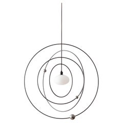 Orbit Mobile Pendant Kinetic Sculpture w/ Blown Glass and Adorned Steel Rings