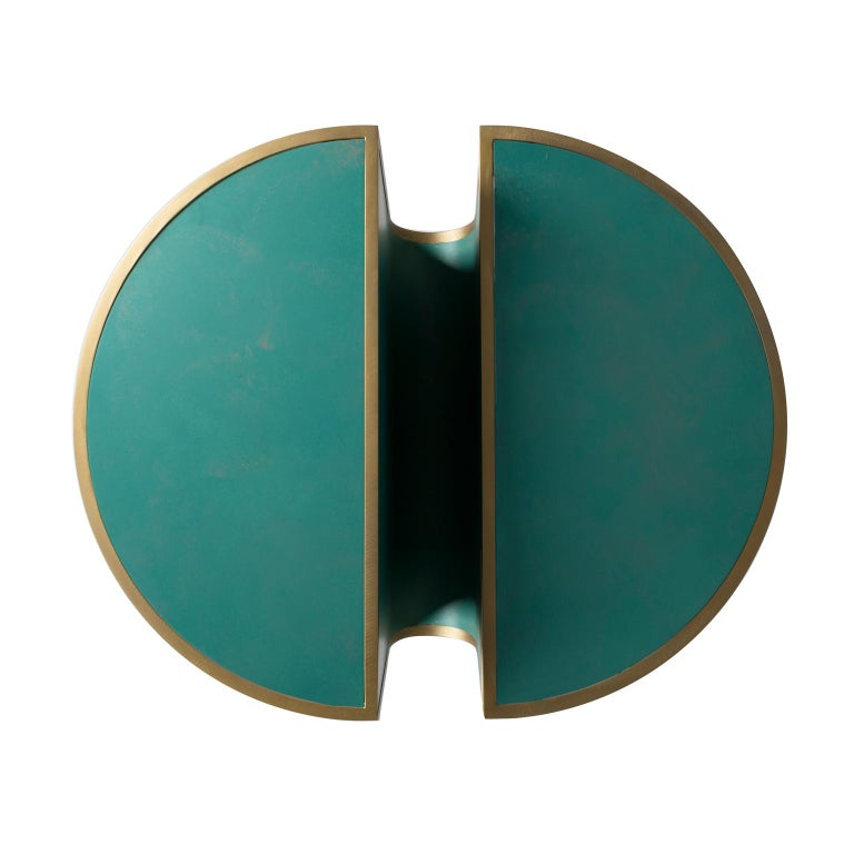 Modern Orbit Tea Table in Verdigris Copper and Brass Coated Steel by Lara Bohinc For Sale