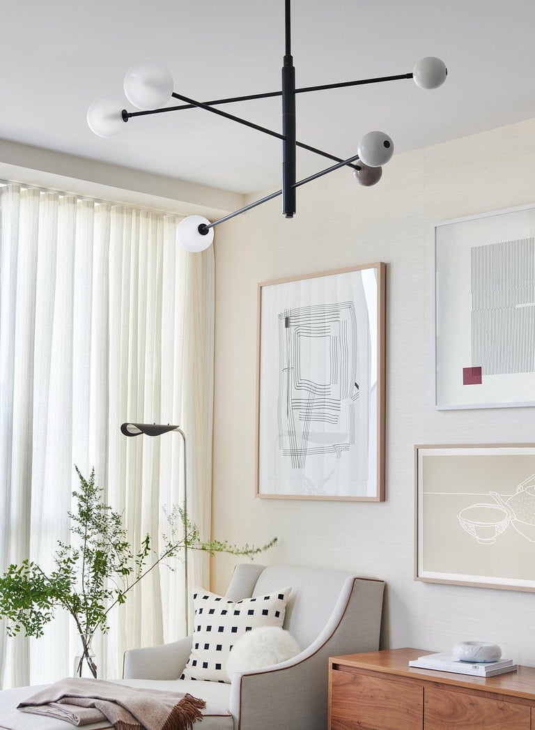 Orbital Three-Arm Pendant in Grey Enamel, Glass and Nickel by Blueprint Lighting In Excellent Condition For Sale In New York, NY