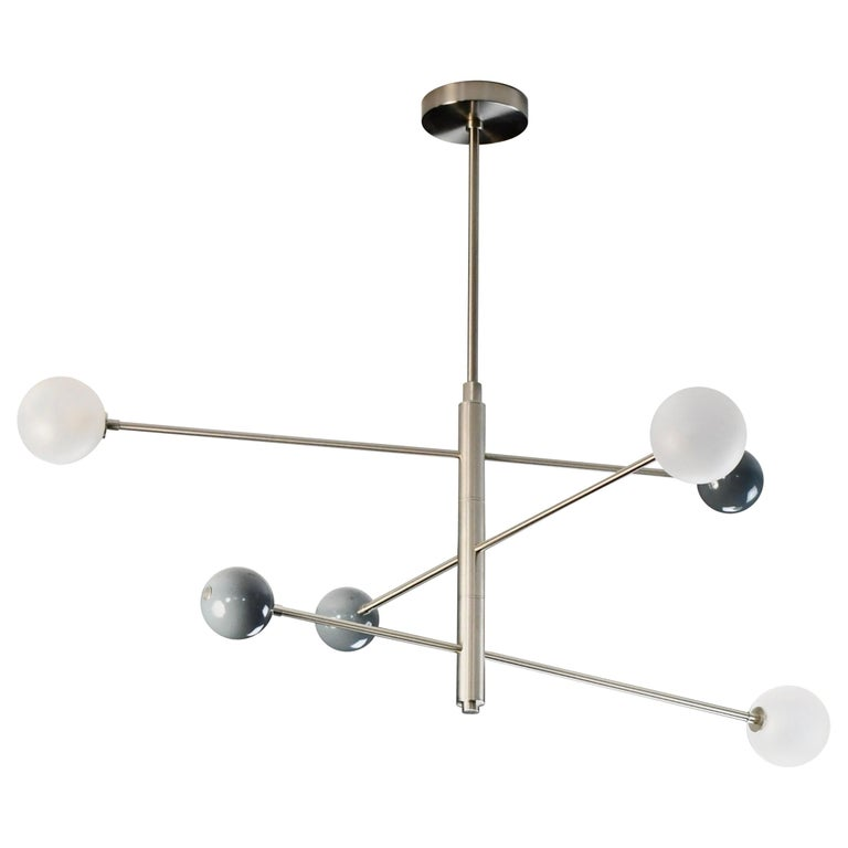 Orbital Three-Arm Pendant in Grey Enamel, Glass and Nickel by Blueprint Lighting For Sale