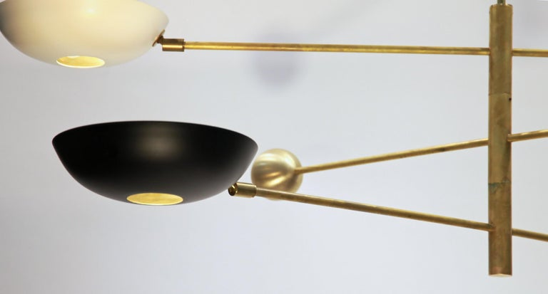 Orbitale Brass Chandelier 3 Rotating Balanced Arms, Stilnovo Style, Brass Shades For Sale 3