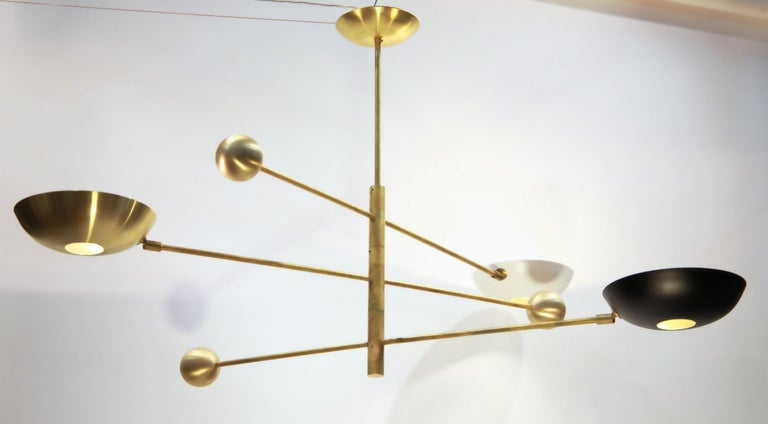 Orbitale Brass Chandelier 3 Rotating Balanced Arms, Stilnovo Style, Brass Shades For Sale 4