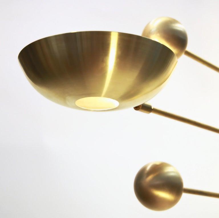 Orbitale Brass Chandelier 3 Rotating Balanced Arms, Stilnovo Style, Brass Shades For Sale 5