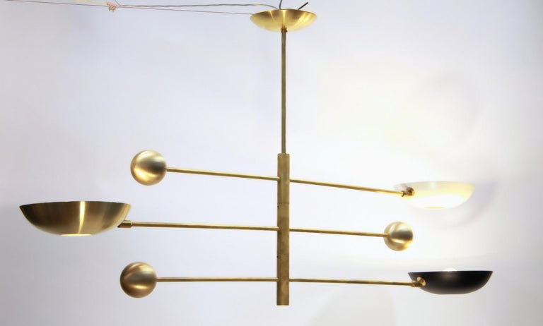 Orbitale Brass Chandelier 3 Rotating Balanced Arms, Stilnovo Style, Brass Shades For Sale 6