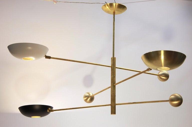 Orbitale Brass Chandelier 3 Rotating Balanced Arms, Stilnovo Style, Brass Shades For Sale 8