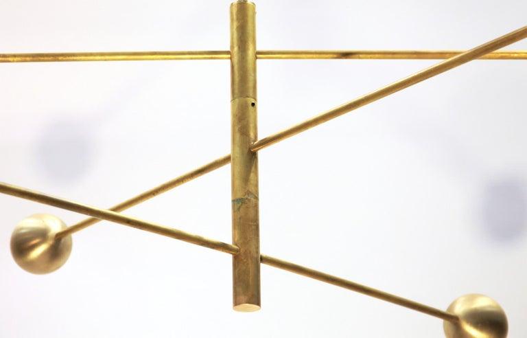 Orbitale Brass Chandelier 3 Rotating Balanced Arms, Stilnovo Style, Brass Shades For Sale 9