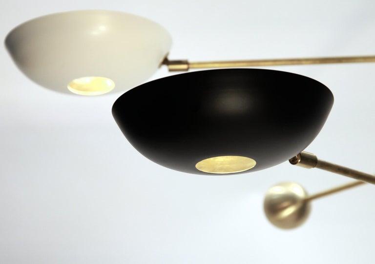 Orbitale Brass Chandelier 3 Rotating Balanced Arms, Stilnovo Style, Brass Shades For Sale 10