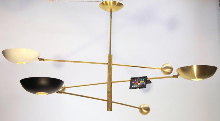 Orbitale Brass Chandelier 3 Rotating Balanced Arms, Stilnovo Style, Brass Shades For Sale 13