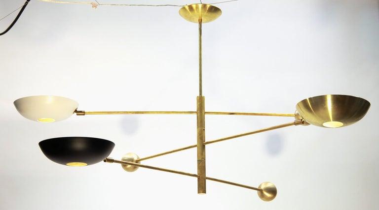 Mid-Century Modern Orbitale Brass Chandelier 3 Rotating Balanced Arms, Stilnovo Style, Brass Shades For Sale