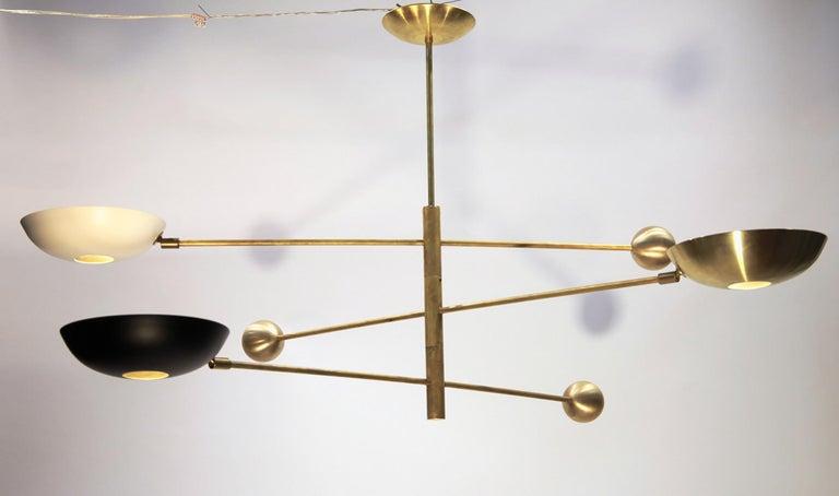 Contemporary Orbitale Brass Chandelier 3 Rotating Balanced Arms, Stilnovo Style, Brass Shades For Sale