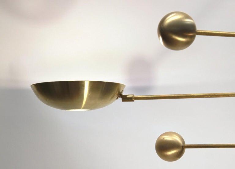 Orbitale Brass Chandelier 3 Rotating Balanced Arms, Stilnovo Style, Brass Shades For Sale 1