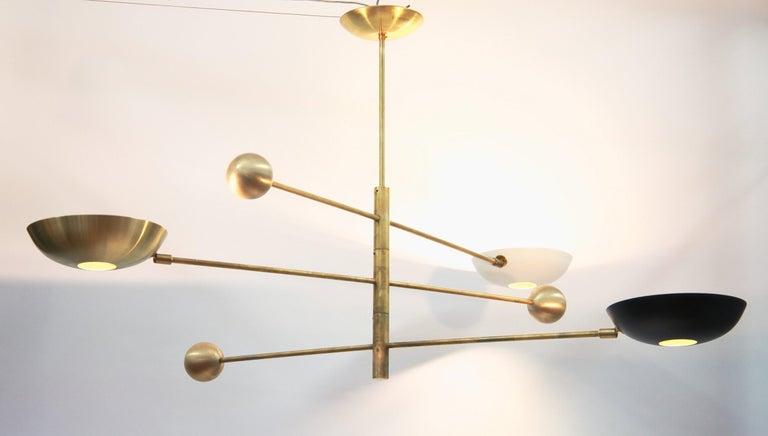 Orbitale Brass Chandelier 3 Rotating Balanced Arms, Stilnovo Style, Brass Shades For Sale 2